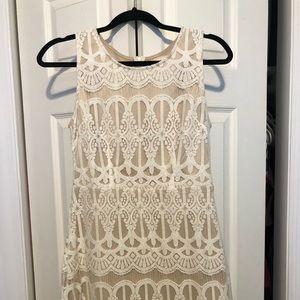Francescas Tan White Lace Dress